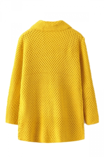Yellow Trendy Womens Turndown Collar Knitted Plain Sweater Coat