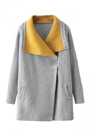 Gray Ladies Trendy Color Block Turndown Collar Warm Sweater Coat