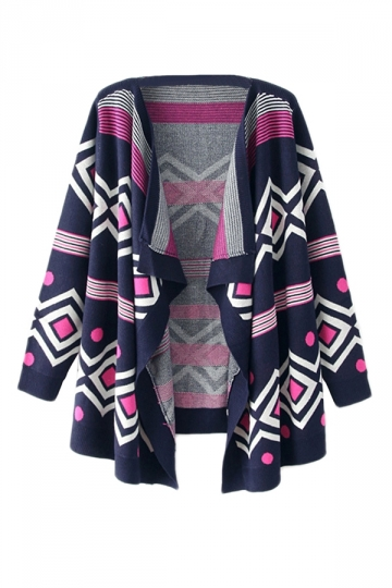 Navy Blue Pretty Womens Wrap Irregular Tribal Patterned Cardigan