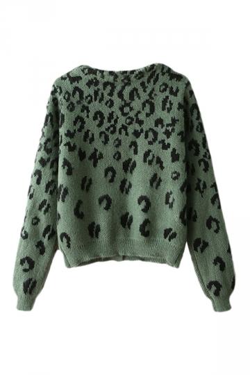 Green Wild Womens Long Sleeve Leopard Patterned Cardigan Sweater