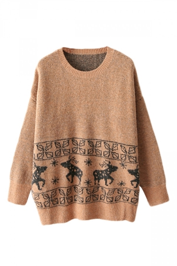Khaki Elegant Ladies Reindeer Pattern Pullover Ugly Christmas Sweater