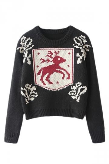 Black Retro Womens Reindeer Pattern Pullover Ugly Christmas Sweater