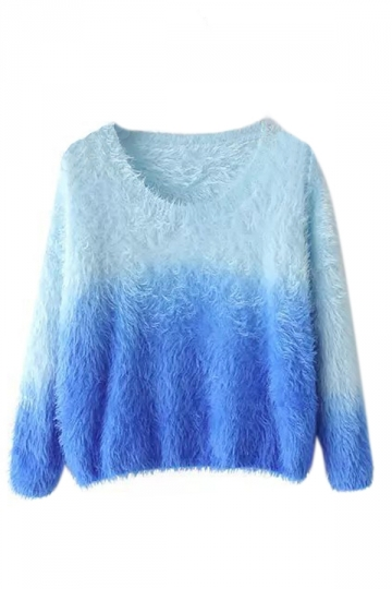 Blue Cute Ladies Gradient Mink Cashmere Patterned Pullover Sweater