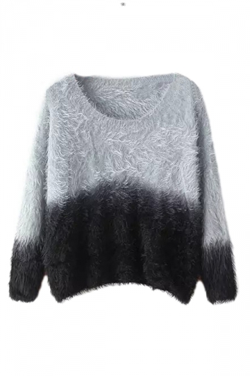 Black Cute Ladies Gradient Mink Cashmere Patterned Pullover Sweater