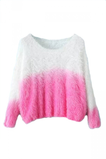 Pink Cute Ladies Gradient Mink Cashmere Patterned Pullover Sweater