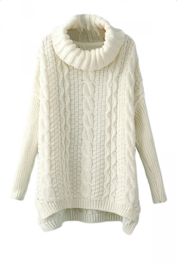 White High Neck Womens Classic Cable Knit Plain Pullover Sweater
