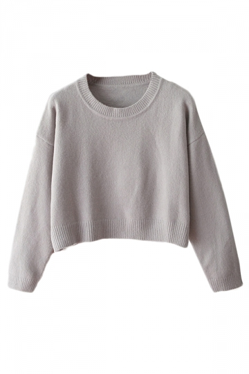 Gray Ladies Casual Fancy Long Sleeves Cropped Pullover Sweater