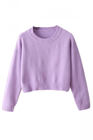 Purple Ladies Casual Fancy Long Sleeves Cropped Pullover Sweater