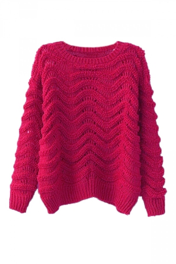 Rose Red Retro Womens Wavy Plain Long Sleeves Pullover Sweater