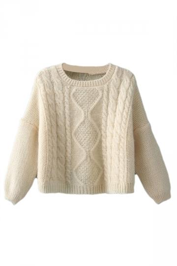 Beige Sexy Ladies Cropped Plain Pullover Cable Knit Cut Out Sweater