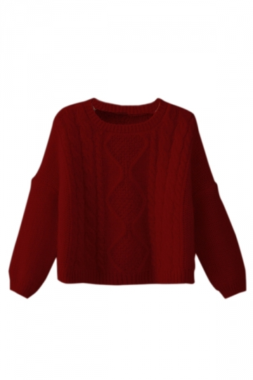Ruby Sexy Ladies Cropped Plain Pullover Cable Knit Cut Out Sweater ...