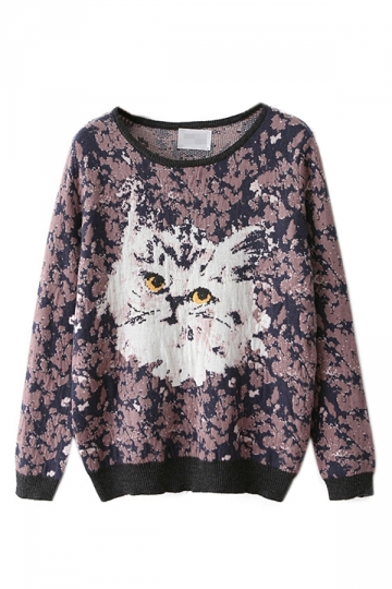 Navy Blue Retro Womens Cute Cat Patterned Pullover Sweater