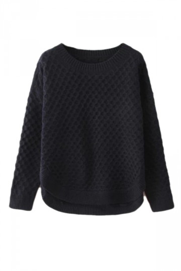 Navy Blue Classic Womens Long Sleeves Side Cut Plain Pullover ...
