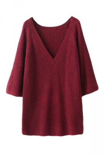 Ruby Modern Womens V Neck Long Sleeve Plain Pullover Sweater