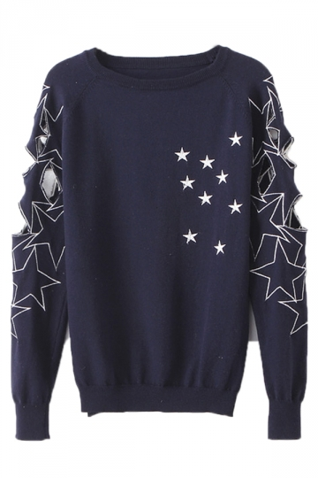 Navy Blue Fashion Ladies Star Cut Out Patterned Pullover Sweater ...