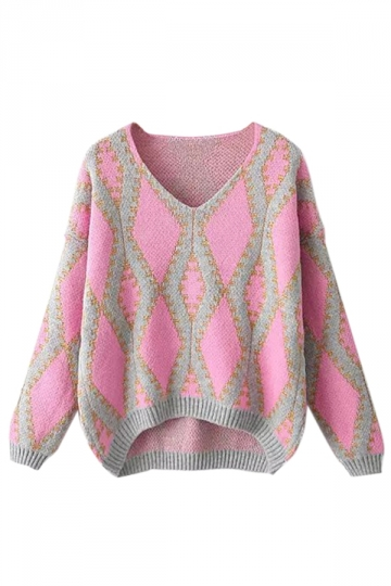 Pink Sexy Ladies Rabbit Hair V Neck Argyle Pattern Pullover Sweater