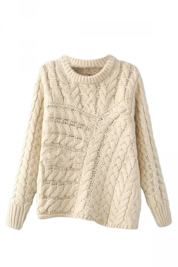 Beige Pretty Ladies Crew Neck Irregular Plain Pullover Sweater