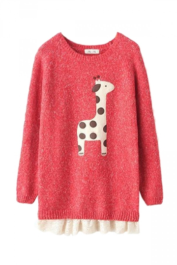 Red Cute Cartoon Giraffe Lace Patchwork Ugly Christmas Sweater