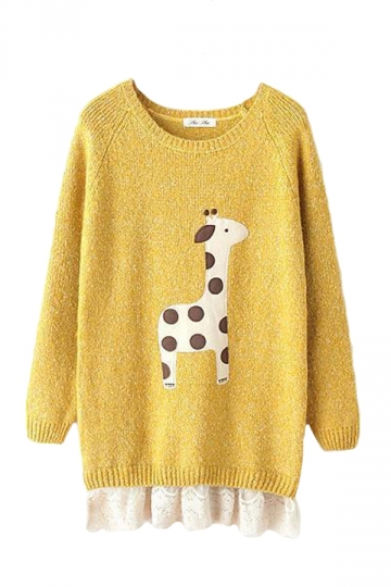 Yellow Cute Cartoon Giraffe Lace Patchwork Ugly Christmas Sweater