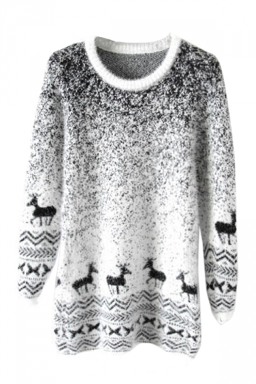 Black Mohair Reindeer Pullover Gradient Ugly Christmas Sweater