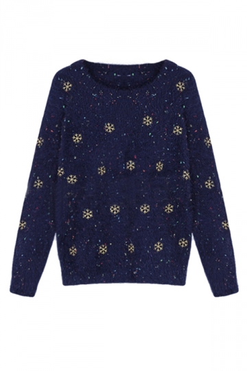 Navy Blue Snowflakes Ladies Mohair Pullover Ugly Christmas Sweater ...