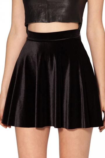 Black Womens Fashion Velvet Pleated Skirt