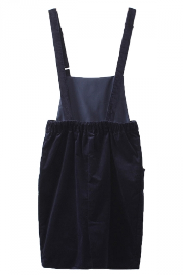 Navy Blue Ladies Cute Suspender Corduroy Classic Midi Skirt
