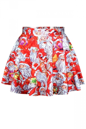 Red Womens Fancy Ugly Santa Claus Christmas Pleated Skirt