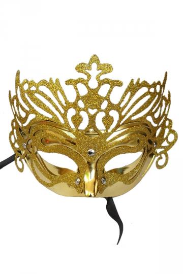 Gold Halloween Glitter Covered Half Face Mask