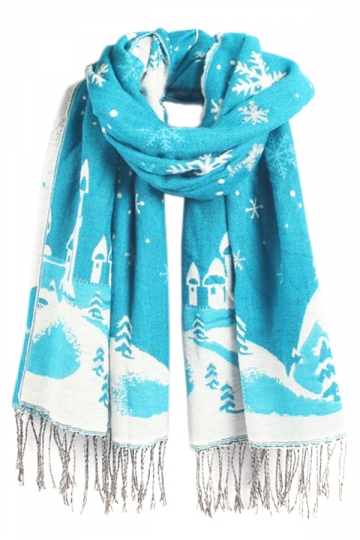 Blue Winter Warm Ladies Christmas Snowflake Pattern Scarf