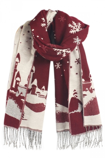 Ruby Winter Warm Ladies Christmas Snowflake Pattern Scarf