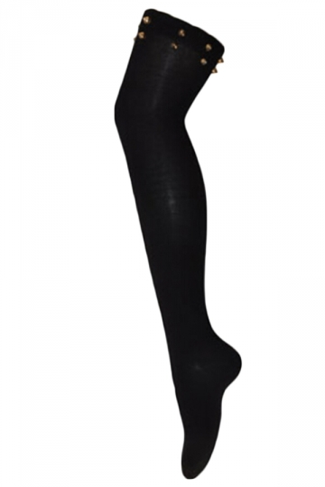 Black Sexy Womens Rivet Plain Overknee Long Stockings