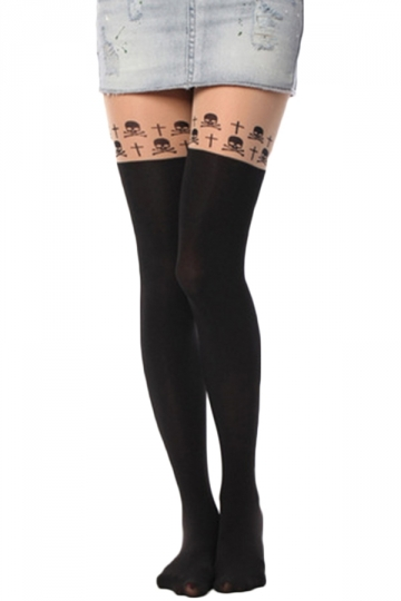 Black Chic Ladies Skull Cross Velvet Overknee Tights