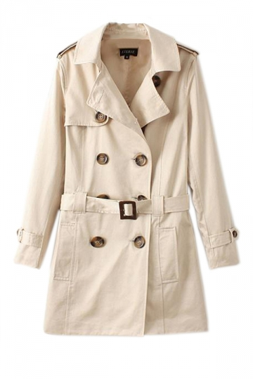 Beige Vintage Ladies Cool Plain Slim Pea Casual Trench Coat