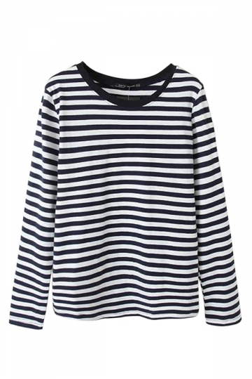 Black Simple Ladies Stripe Long Sleeve Pullover T-shirt