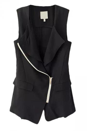 Black Pretty Ladies Patchwork Inclined Zipper Vest