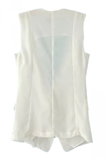 White Pretty Ladies Patchwork Inclined Zipper Vest