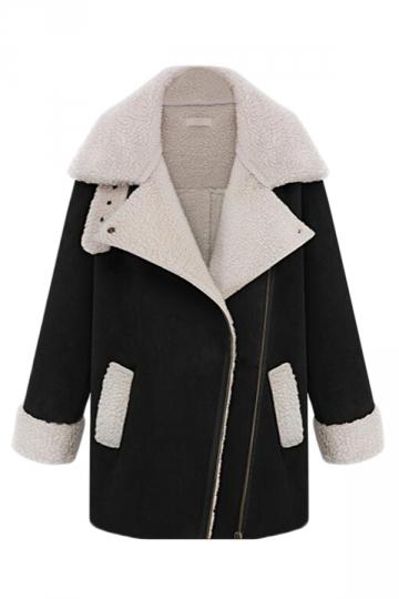 Black Modern Womens Turndown Collar Fur Warm Over Coat