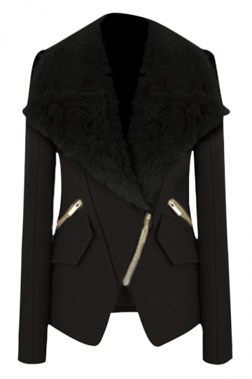 Black Elegant Womens Fur Turndown Collar Winter Wool Coat
