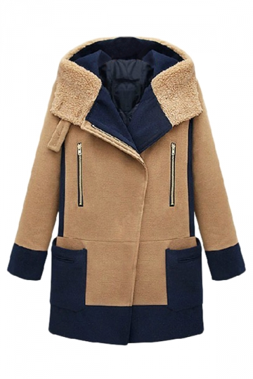 Khaki Chic Womens Winter Color Block Turndown Collar Hooded Over Coat