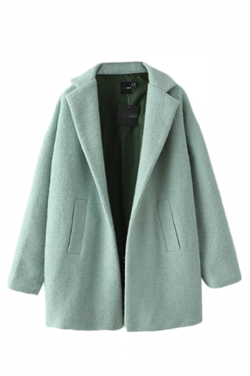 Turquoise Pretty Ladies Wool Turndown Collar Plain Winter Tweed Coat