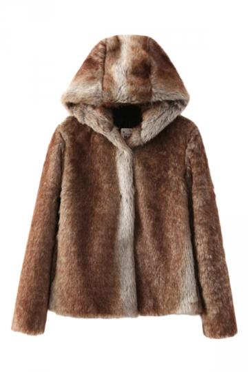 Coffee Sexy Womens Winter Hooded Fur Warm Wool Coat