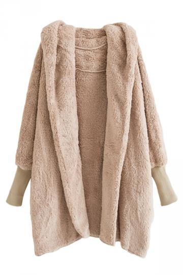 Beige Warm Ladies Hooded Long Sleeve Cardigan Wool Coat