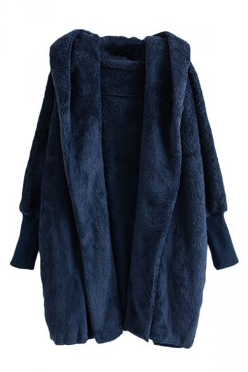 Navy Blue Warm Ladies Hooded Long Sleeve Cardigan Wool Coat