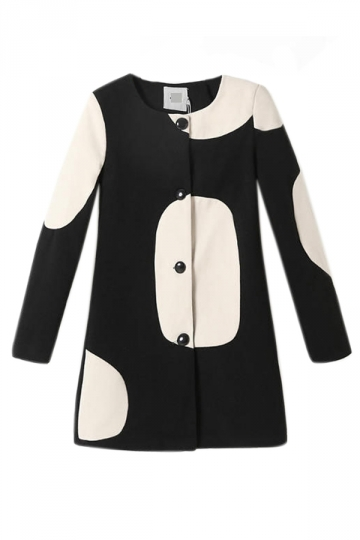 Black Cool Ladies White Circle Printed Long Sleeve Tweed Trench Coat