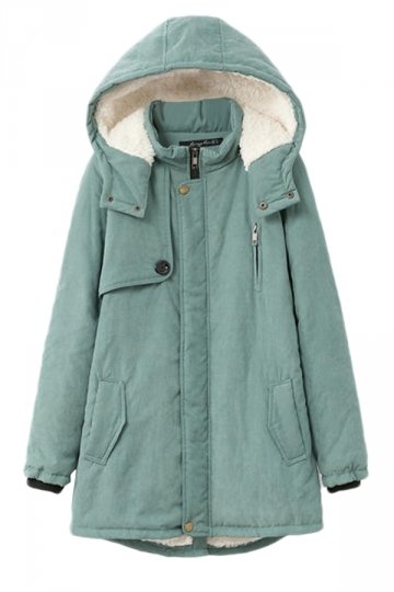 Green Modern Womens Warm Hooded Winter Plain Cashmere Wool Coat
