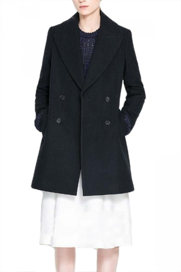 Black Fashion Womens Big Turndown Collar Tweed Pea Coat
