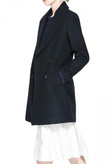 Black Fashion Womens Big Turndown Collar Tweed Pea Coat
