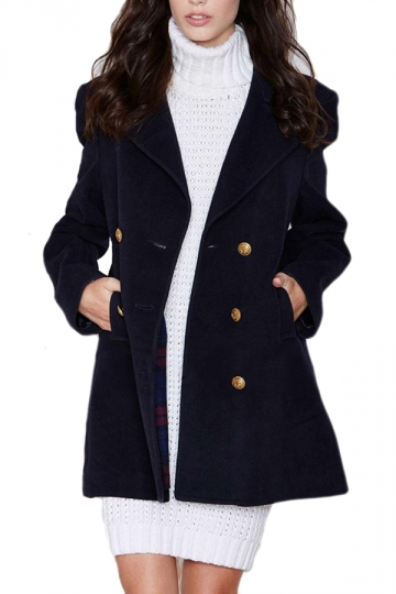 Navy Blue Ladies Charming Big Turndown Collar Pea Coat