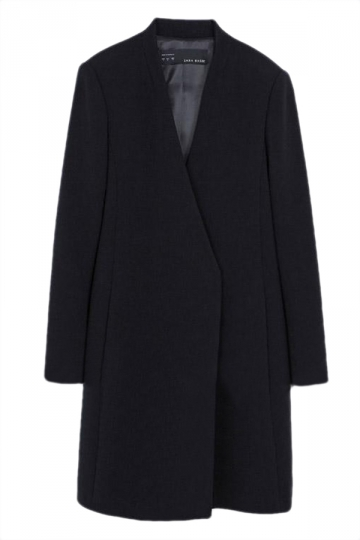Black Trendy Ladies V-neck Slimming Double Covered Button Tweed Coat